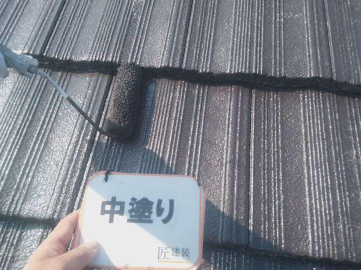 屋根中塗り(下塗り後)