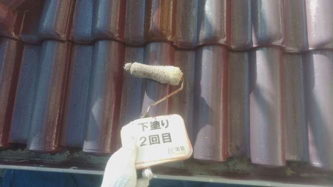 屋根下塗り2回目